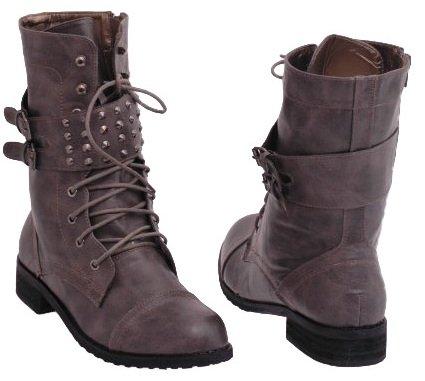 EyeCatchShoes Biker Military Size Boots Army Womens Combat 7 Studded Style Khaki 5rxCqrTAw