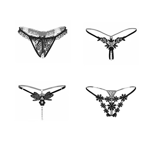 SELORY Women's Crotchless Lace Panties Pearls G-Strings Underwear Thong Lingerie T-Back Pack Of 4