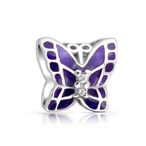 Bling Jewelry Purple Enamel 925 Silver Butterfly CZ Charm Bead (Butterfly Charm Pave)
