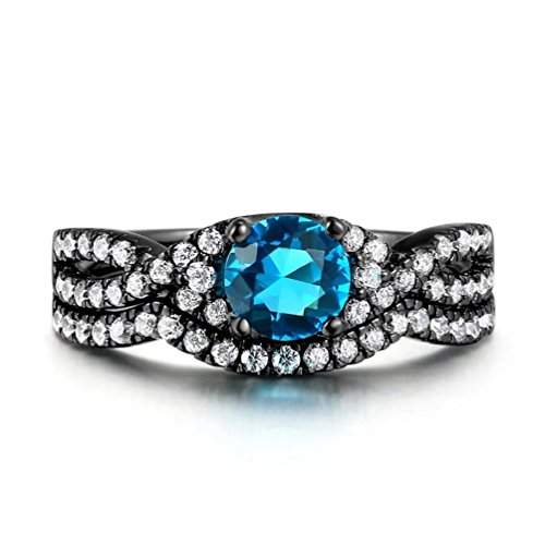 (FENDINA Women's 2 PCS Infinity Rings Vintage Round Cut Created Blue Topaz CZ Twisting Cross Shank Wedding Halo Promise Eternity Rings - 5)
