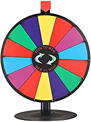 """WinSpin 18"""" Tabletop Editable Color Prize Wheel 14 Slot Spinning Game Steel Base w/Dry Erase Tradeshow Ca"""