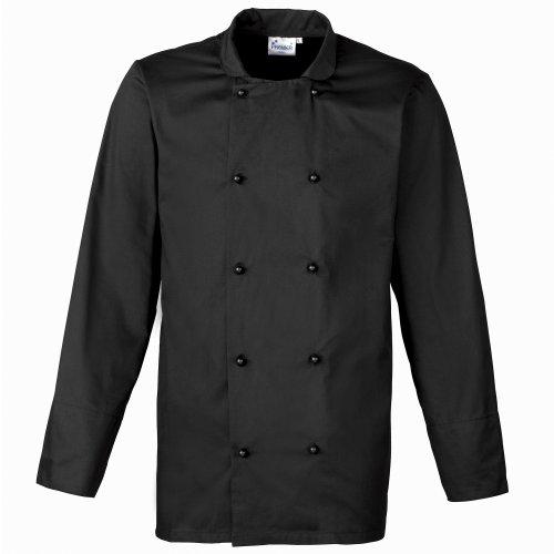 Premier Unisex Cuisine Long Sleeve Chefs Jacket (L) (Black) (Premier Cotton Jacket)