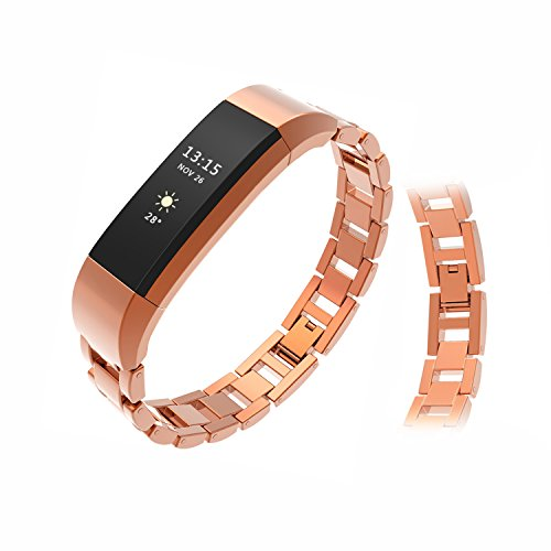 Wearlizer Compatible with Fitbit Alta Bands and Fitbit Alta hr Bands,Metal Alta Replacement Band Wrist Bands Strap Assesories for Fitbit Alta Activity and Sleep Tracker Polished Rose Gold