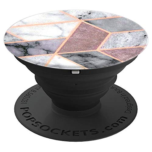 Pop Socket Marble Pink Grey White Rose Gold Geometric Design - PopSockets Grip and Stand for Phones and Tablets