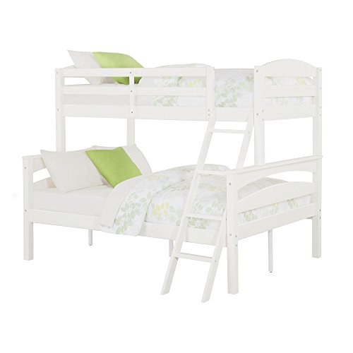 Dorel Living Brady Twin over Full Solid Wood Kid's Bunk Bed with Ladder, White (Bed Bunk 1 Bed)