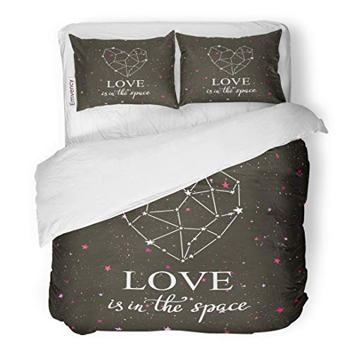 Emvency Bedding Duvet Cover Set Starlit Heart Dark Night Sky Stars Constellation in The Form of Hand Lettering Phrase Love is Space 3 Piece Twin 68