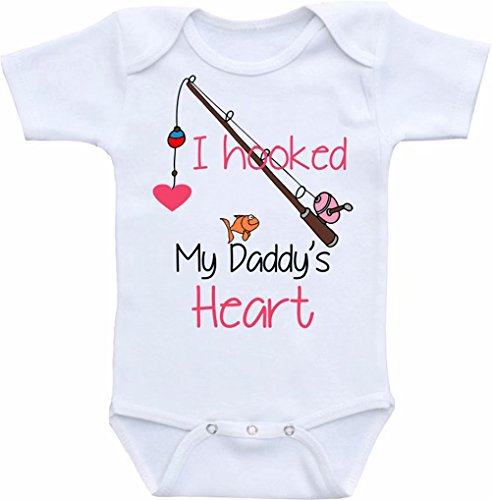 (Promini Funny I Hooked Daddy's Heart Baby Bodysuit Cute Infant One-Piece Bodysuit Baby Romper Best Gift for Baby White)