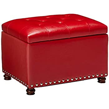 Stupendous Amazon Com Acme Red Bonded Leather Ottoman With Storage Gmtry Best Dining Table And Chair Ideas Images Gmtryco