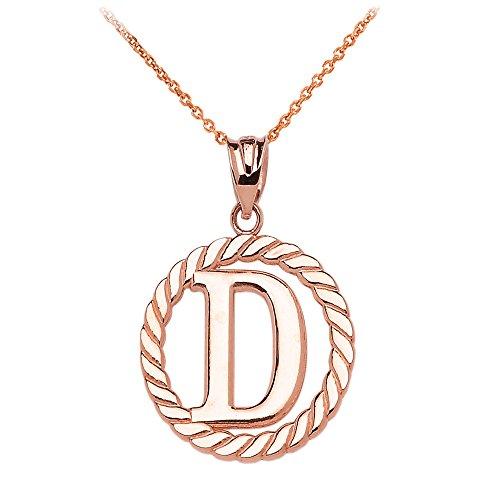 """Collier Femme Pendentif 14 Ct Or Rose """"D"""" Initiale À Corde Cercle (Livré avec une 45cm Chaîne)"""