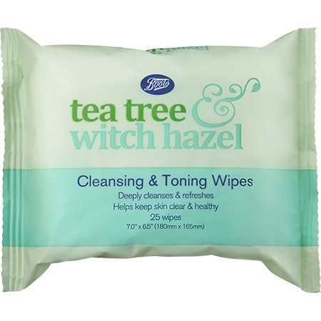 Boots Tea Tree & Witch Hazel Cleansing Toning Wipes 25s.