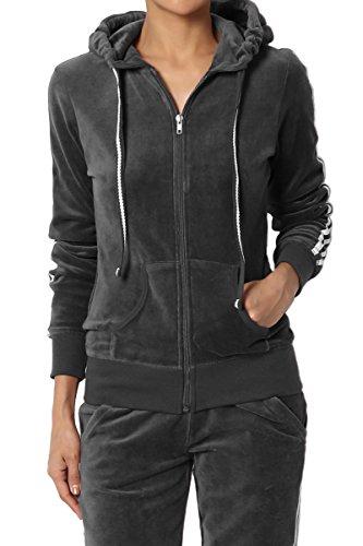 TheMogan Junior's Striped Long Sleeve Zip Up Hooded Velour Jacket Black ()