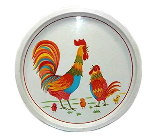 Vintage Tin Litho Rooster Hen Chicken & Chicks Round Serving Tray - Japan