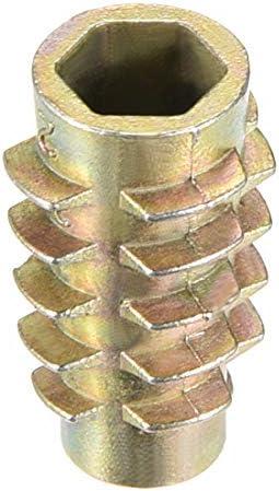 sourcing map Tuercas hexagonales de Inserci/ón de roscado de aleaci/ón de zinc roscas internas M8 12mm Longitud 20pcs