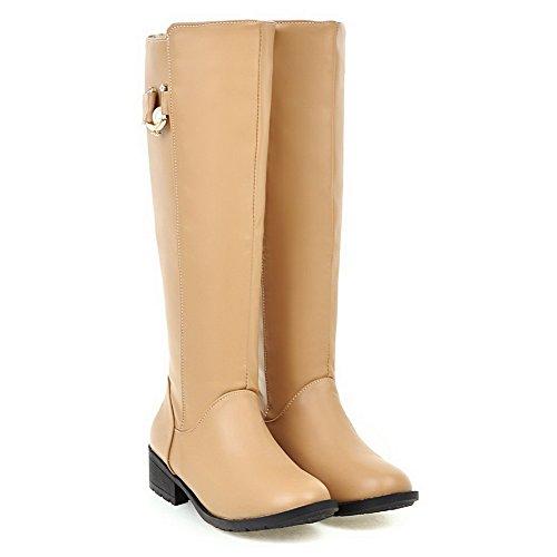 VogueZone009 Damen Hoch-Spitze Weiches Material Rund Zehe Stiefel mit Anhänger, Aprikosen Farbe, 38