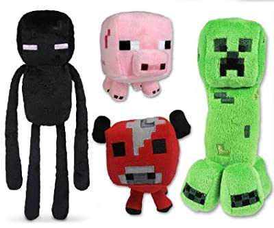 Unknown Minecraft Plush Set of 4 with Creeper Enderman Pig & Mooshroom