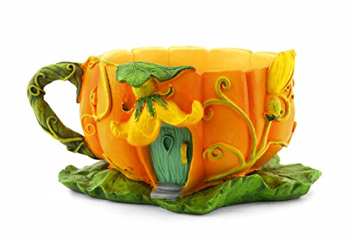 Miniature Fairy Garden Pumpkin Blossom Tea Cup Planter