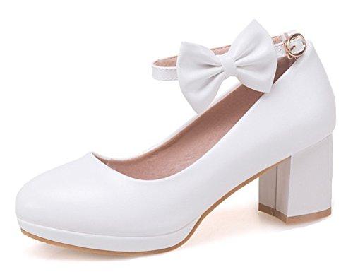 4f6f918f ... Correa Del Tobillo Zapatos Con Arco Blanco. B07BBSVRLN. Las Mujeres De  Corte Ancho Lindo Corte Bajo Abrochado Elegante Medio Bloque Del Talón Del  Dedo