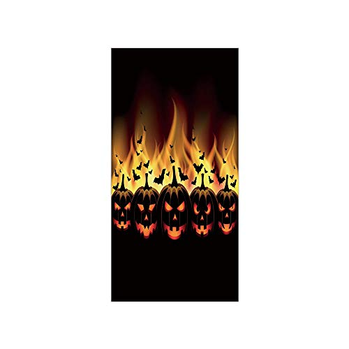 Decorative Privacy Window Film/Happy Halloween Image with Jack o Lanterns on Fire with Bats Holiday Decorative/No-Glue Self Static Cling for Home Bedroom Bathroom Kitchen Office Decor Black Scarlet -