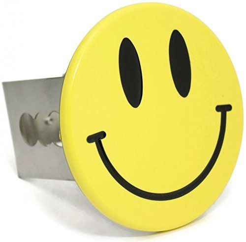 Smiley Face Chrome Trailer 2' Hitch Plug Cover Cap Stainless Steel DanteGTS