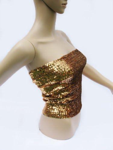 Sequin Tube Top Skirt Glitter Disco Retro Sparkly Boob Tube Bandeau Clubwear