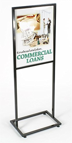 - Displays2go Floor Sign Holder Stand with Glossy Black Finished Metal Exterior for 22 x 28 Inches Inserts (TWN2228BLK)