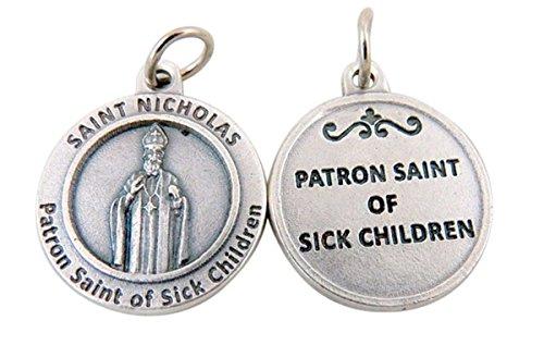 - Silver Toned Base Patron of Sick Children Saint Nicholas Medal Pendant, 3/4 Inch