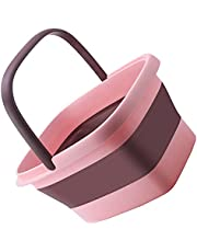 VOSAREA Collapsible Camping Picnic Bucket Wash Basin Portable Foldable Tub with Handles for Cloth Washing Hiking Home Use Pink