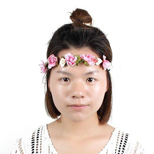 eDealMax Femme Fleur Artificielle Dcor tresses sangle rglable cheveux Bande Bandeau tte Couronne Rose Clair
