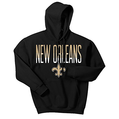 Zubaz NFL New Orleans Saints Men's Gradient Logo Hoodie, Large, Black