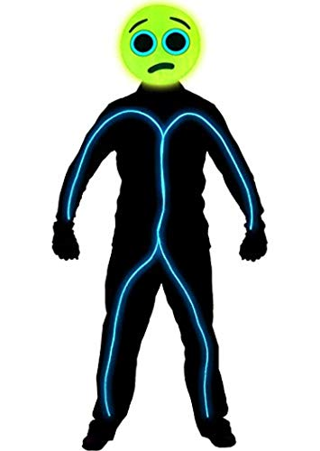 GlowCity Light Up Worried Emoji Stick Figure Costume for Parties & Halloween Lighting & Mask Kit - Clothing Not Included - Aqua - Medium 5-6 FT Tall -