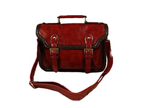Whoinshop, borsa da donna in pelle sintetica stile vintage retrò, borsa a tracolla (Vino)