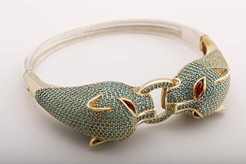 Double Tiger Head Ring Style! Turkish Handmade Jewelry Round Shape Turquoise Zircon and Marquise Cut Shiny Ruby 925 Sterling Silver Bangle Bracelet