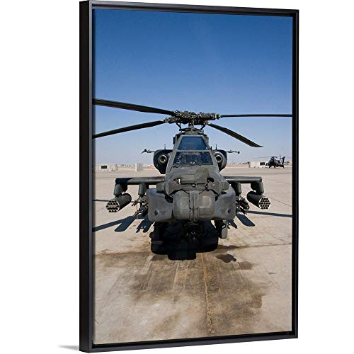 Terry Moore Floating Frame Premium Canvas with Black Frame Wall Art Print Entitled an AH64D Apache Longbow Block III Attack Helicopter Sits on The Flight line ()