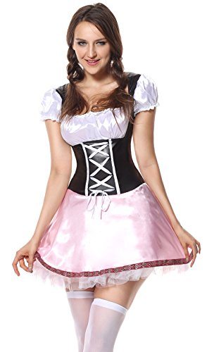 Sibeawen Women's Beer Garden Girl Oktoberfest Plus Size Costume Black-pink Large (Beer Garden Girl Costume)