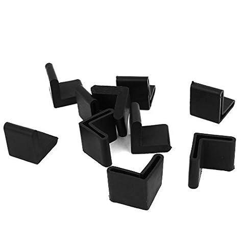Rubber Furniture L Shape Angle Iron Leg Foot Cover 24mmx24mm 10pcs