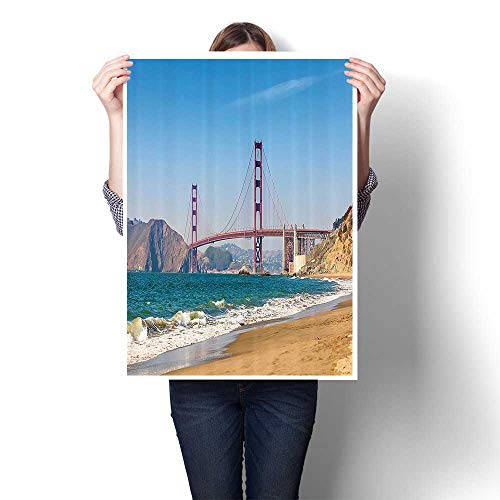 San Marco Bronze 32 - SCOCICI1588 1 Piece Wall Art Painting Panoramic of Golden Gate Bridge San Francisco with Coastline Nature Seascap Prints On Canvas for Living Room Decor,32