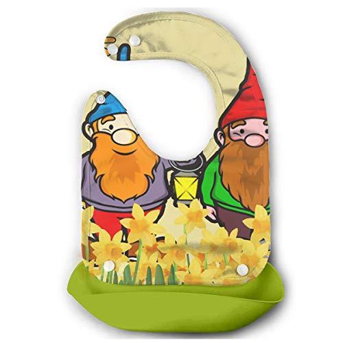 Rainbowhug Gnomes Narcissus Baby Bibs with Wide Pocket Baby Bucket Bib with Adjustable Strap Silicone Bib Green ()