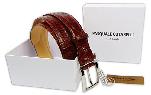 Pasquale Cutarelli Mens Crocodile Pattern Italian Leather Belt (7167) Burgundy 32 inches - Crocodile Belt
