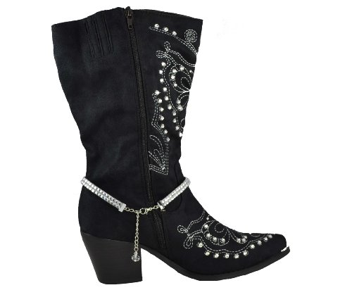 """11 """" + 3"""" Acrylic Clear Chain With Rhinestone Pistol Pendant Adjustable Boot Chain SKU No:BOT120221-07 CLEAR"""