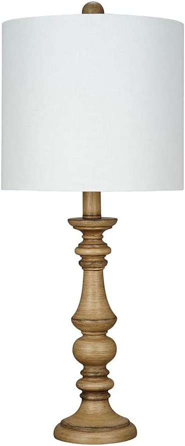 "Amazon Brand – Ravenna Home Table Lamp with a Round Base, Bulb Included, 23""H, Oak"