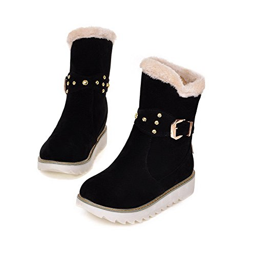 Solid Low Allhqfashion Women's Heels Rivet Low Pull Black with Top On Frosted Boots IwpYqxgYa