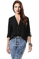 Pretty Show Women's Long-sleeve Print Chiffon Fashion Slim Blouses Shirt