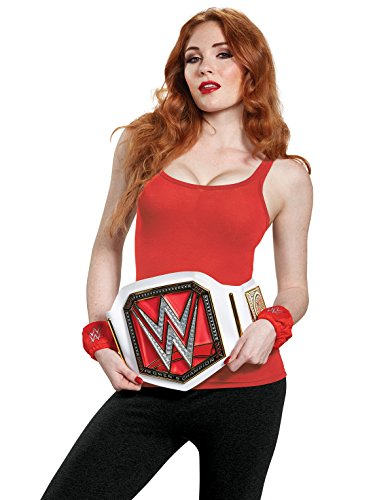 Disguise Women's WWE Championship Belt Adult Costume Kit, White, One Size -