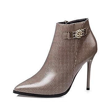 Botas para mujer otoño/invierno vestido de piel sintética botas de combate stiletto talón)