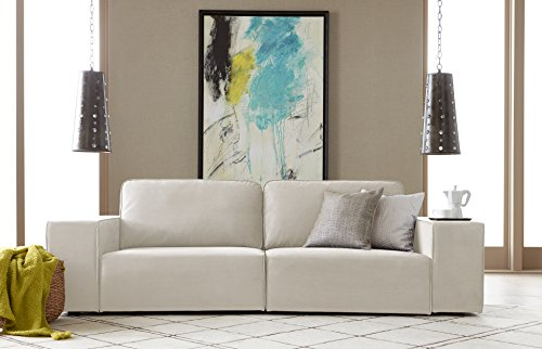 Serta Truman Sofa, Chenille Fabric, Cream - Modern low profile Brings contemporary style Upholstered in soft Chenille fabric Wide track arms are comfortable and Functional - sofas-couches, living-room-furniture, living-room - 41phzt DVYL -