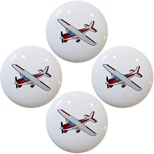 (Red Airplane Aviation Ceramic Cabinet Drawer Pulls Knobs (Set of 4 Knobs))