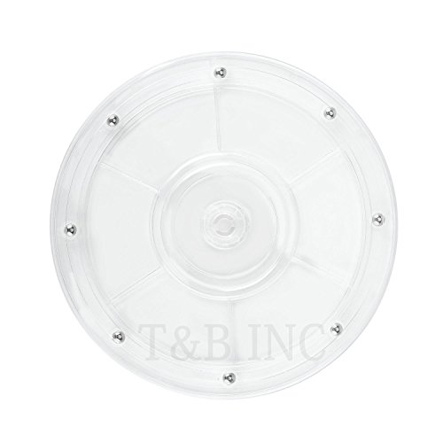 T&B 9 inch Lazy Susan Turntable Organizer White Acrylic for Spice Rack Table Cake Kitchen Pantry Decorating