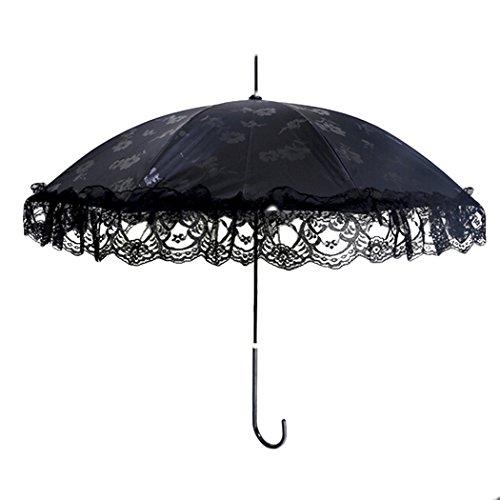 Fansport 31 Inch Womens Umbrella Lace Flower Umbrella Sunblock Parasol Anti UV Stick Umbrella -