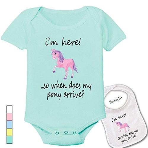 Pony Gift - I'm here ..so where is my pony? -Cute custom Baby bodysuit onesie & matching bib