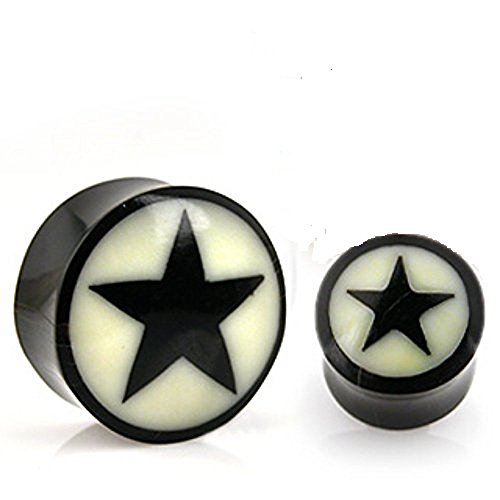Natural Bone Star Inlay Organic Buffalo Horn Solid WildKlass Saddle Fit Plug (Sold as a Pair) ()